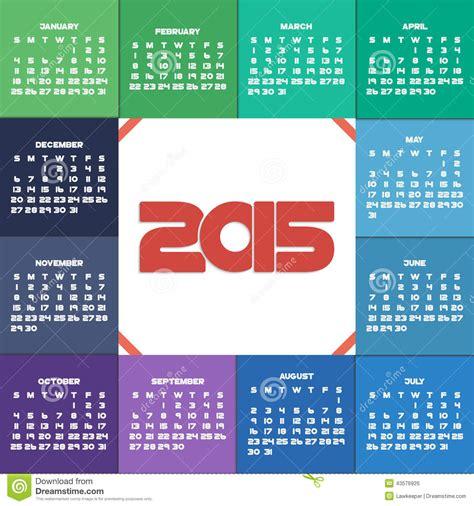 design week calendar 2015 colorful 2015 calendar stock vector image 43576926