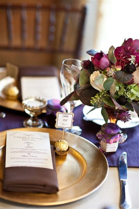 plum and gold wedding