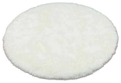 White Circle Rug by Snowy White Polar Faux Fur Rug Sheepskin
