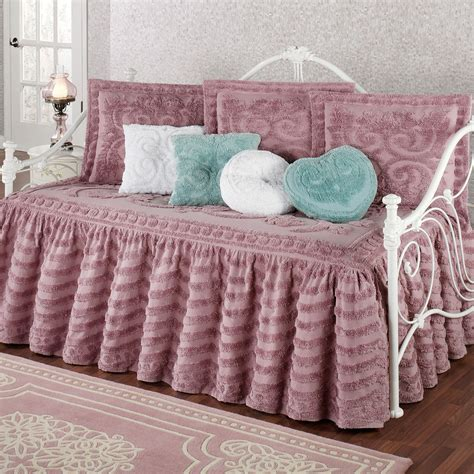 day bed comforters intrigue chenille ruffled flounce daybed bedding set