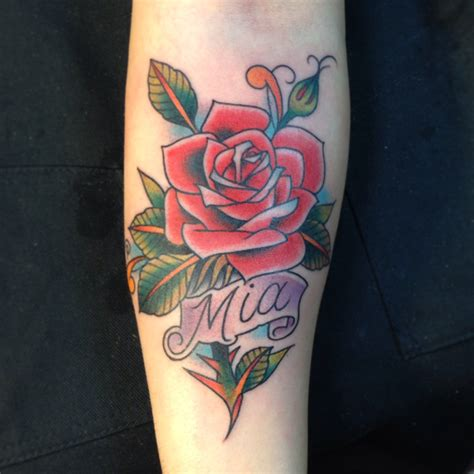 classic rose tattoo with daughters name timeless classic luke