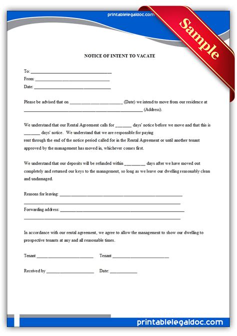 Letter Of Intent Ontario Free Printable Intent To Vacate Letter Template Vacate Notice
