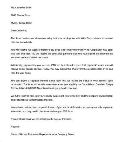 brilliant ideas of employee termination letter termination of