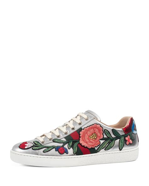 gucci shoes gucci new ace floral leather sneaker in metallic lyst