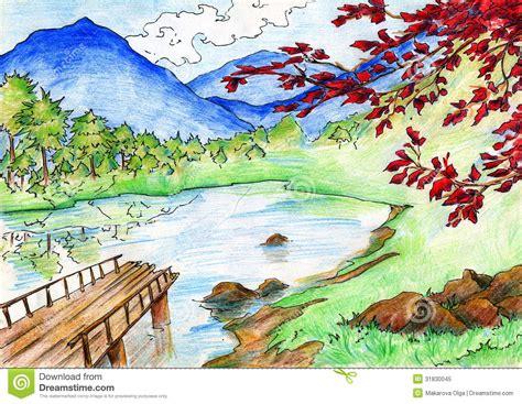 color pencil sketches landscape with colored pencils
