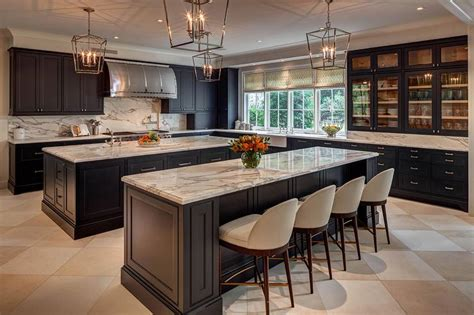 kitchens with two islands kitchen with two black islands contemporary kitchen