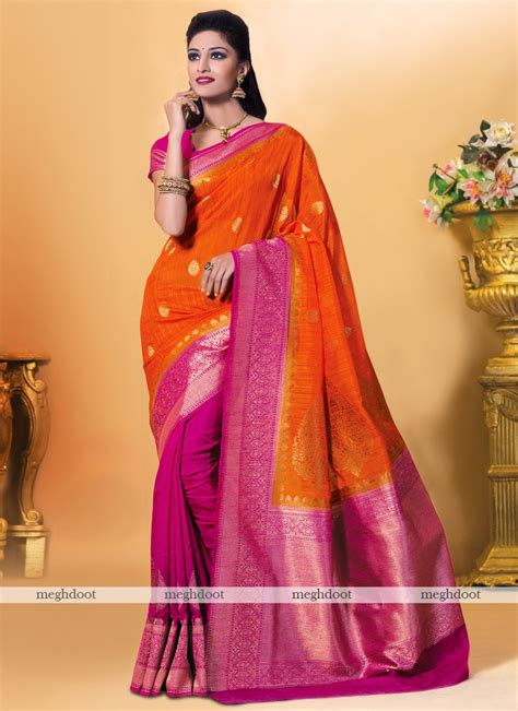 rani pink colour meghdoot orange and pink colour kanchipuram spun silk