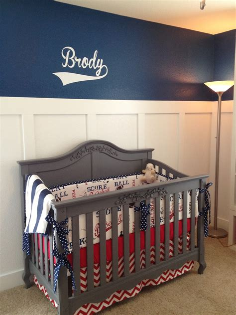 Baseball Baby Bedding Crib Sets Mitchell S One Year Forever To Go Brody S Nursery Bringing Vintage Baseball Back