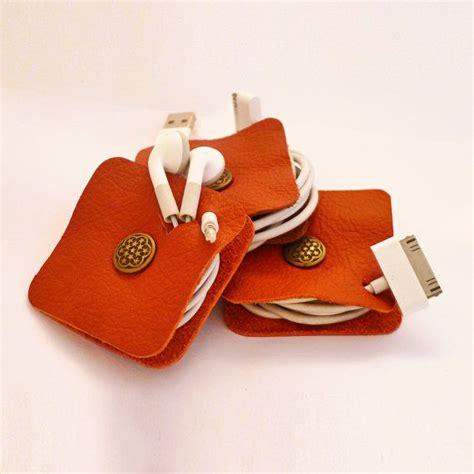 Earphone Organizer leather earphone holder organizer cord organizer by