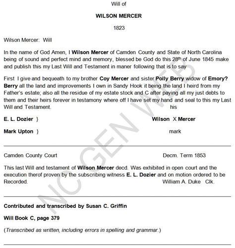 Camden County Marriage Records Wilson Mercer 1853 Will Camden County Ncgenweb