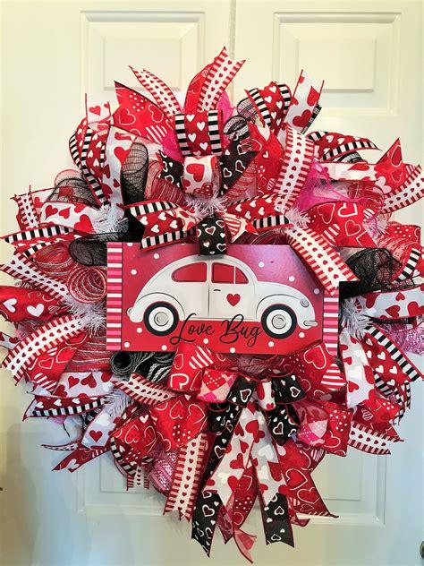 valentine door wreath love bug wreath volkswagon bug