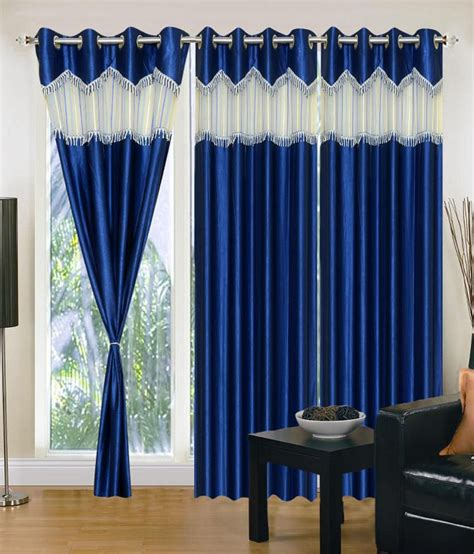 residence brand curtains brand decor set of 3 window eyelet curtains solid blue
