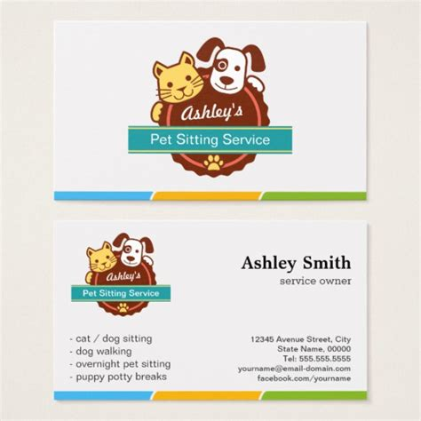 pet sitter business cards templates pet sitting service business card zazzle