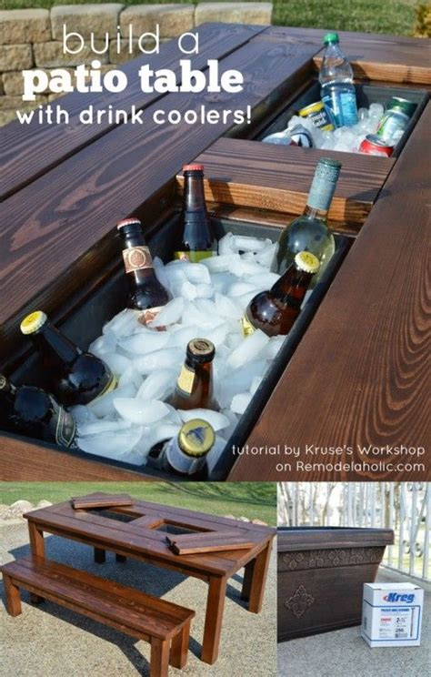 diy patio table  drink coolers