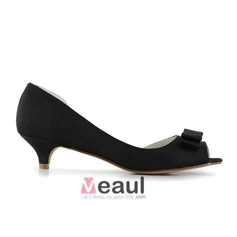 wedding shoes kitten heel with peep toe vintage peep toe black satin kitten heels open side