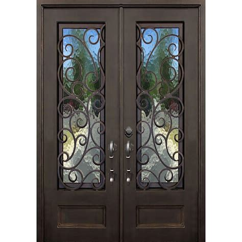 Glass And Iron Doors Florida Iron Doors 64 In X 96 In Lauderdale Bronze Left Inswing Painted Iron Prehung