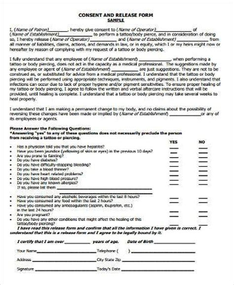 tattoo consent form samples 8 free documents in word pdf