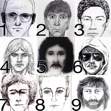 The Flat Tire Murders row show composite sketches of infamous