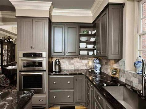 Grey Kitchen Cabinets With Black Countertops Pin On Home Decor