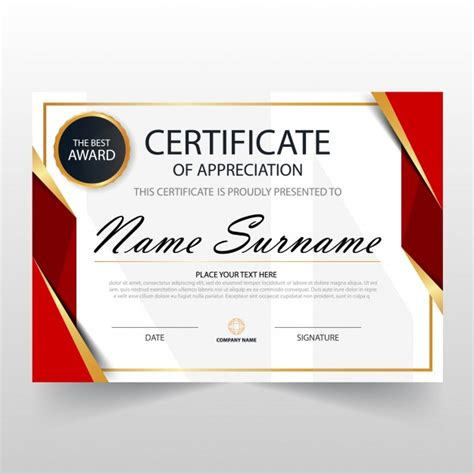certificate layout vector red horizontal certificate template vector free download