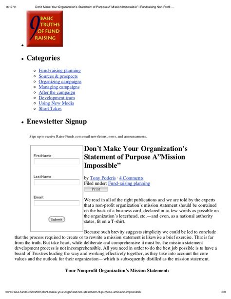 mission statement for non profit template don t make your organization s statement of purpose a