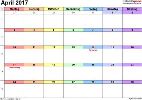 Kalender 2017 April Kalender April 2017 Als Excel Vorlagen