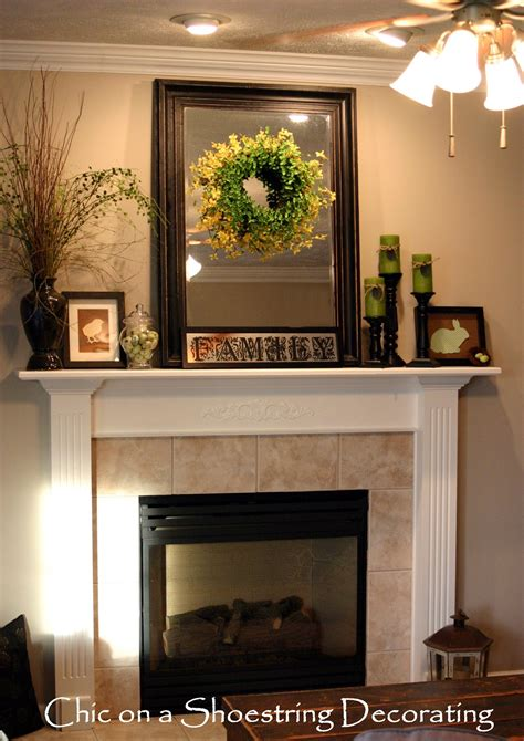 pictures of mantels chic on a shoestring decorating easter mantel on the cheap