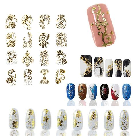 3d Nail Sticker gold 3d nail stickers decals 108pcs sheet top quality metallic flowers mixed designs