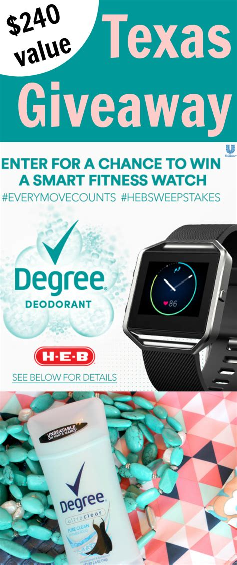 Heb Sweepstakes - smart fitness watch giveaway for texas save on degree motionsense at h e b