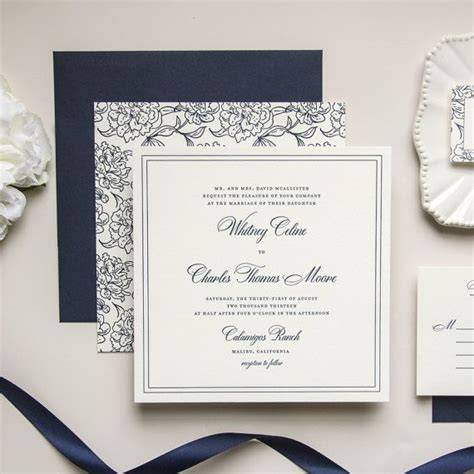 Square Wedding Invitation Template by Oversized Square Floral Navy Letterpress Wedding