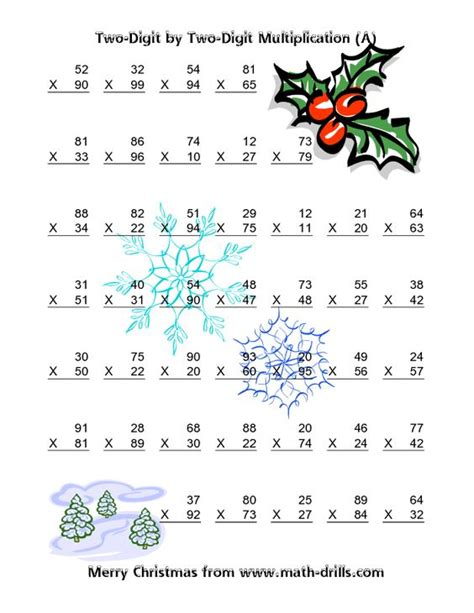 free printable holiday math worksheets middle school christmas math worksheet multiplication two digit by