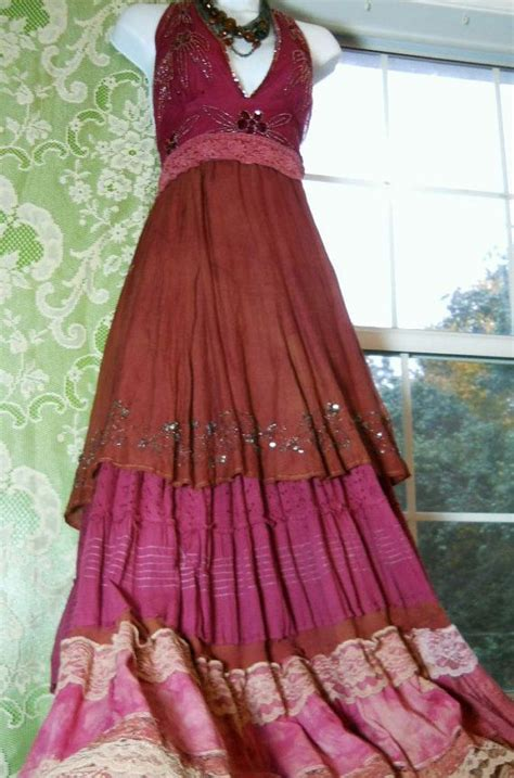 Anting Vintage Bohemian Pink beaded dress maxi rust pink ruffles silk lace prairie bohemian tribal medium by vintage