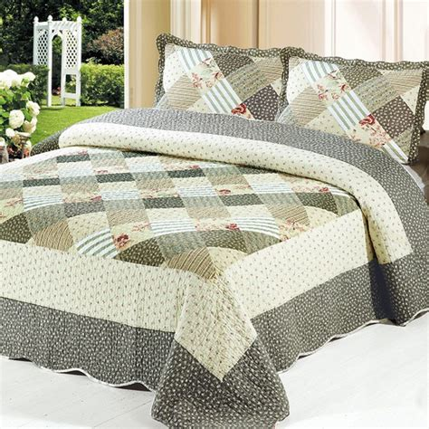 Patchwork Bedding Set - cotton patchwork 3 bedding set plaid bedspread