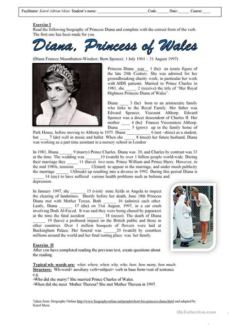 lady diana biography en ingles princess diana biography worksheet free esl printable