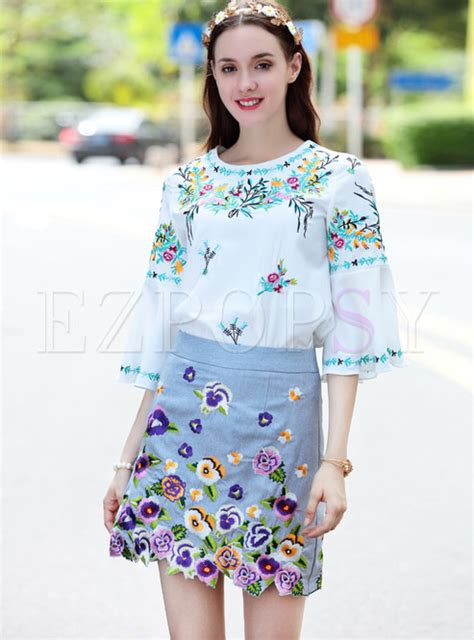 Flower Embroidered Blouse flower embroidered flare sleeve blouse mini embroidered