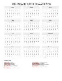 Costa Rica Calendario 2018 Calendario Costa Rica A 241 O 2018 Feriados