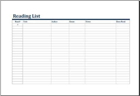 Ms Excel Printable Reading List Template Excel Templates Book List Excel Template