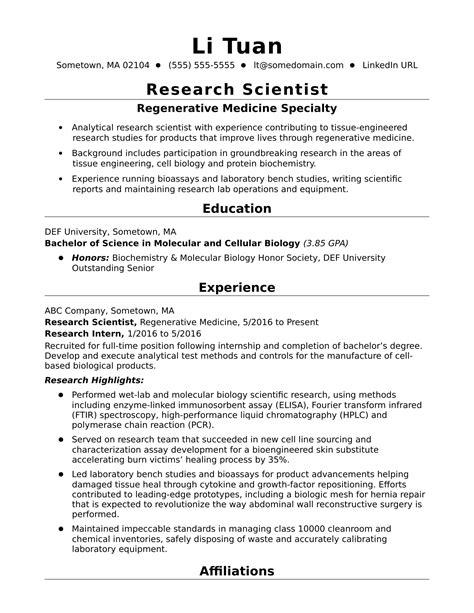 Entry-Level Research Scientist Resume Sample   Monster.com