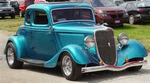 1934 ford 5 window coupe blue front angle
