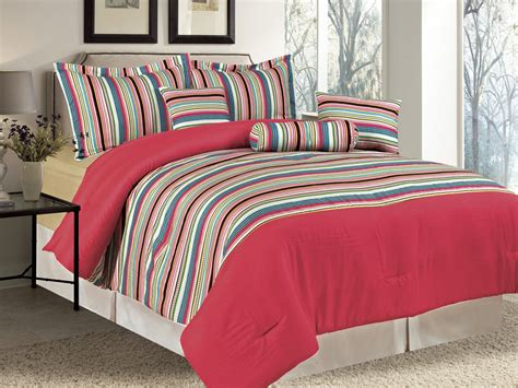 multi colored comforters 7 pc microfiber rainbow multi colored dots striped