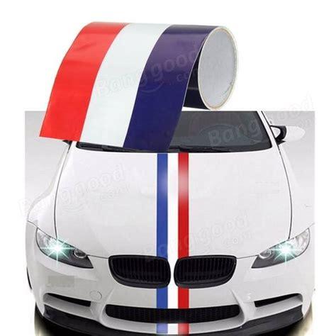 Bc069 Setelan L Blue Stripes Cars 15cm vinyle blanc bleu voiture drapeau bande autocollant capot embl 232 me