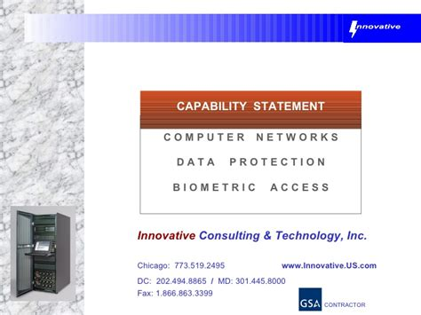 Capabilities Mba by Innovative Consulting Technology Capabilities Statement