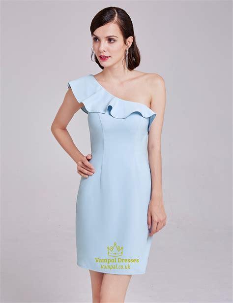 light blue ruffle dress light blue simple one shoulder short sheath cocktail dress