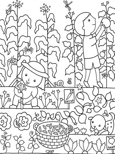 Kids Gardening Coloring Pages Free Colouring Pictures To Vegetable Garden Coloring Pages