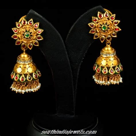 gold jhumka pattern gold floral pattern jhumka design south india jewels