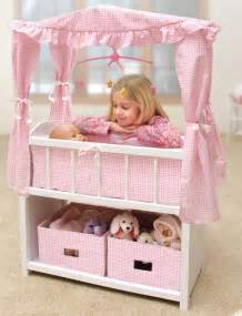 Kids baby doll crib canopy baskets bedding amp mobile bed pretend play toy ebay