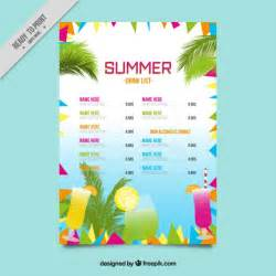 colorful abstract summer drink list template vector free