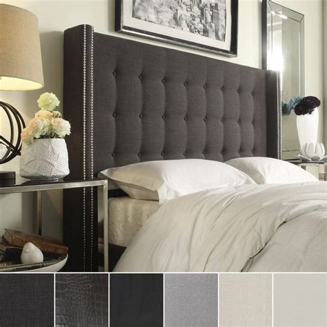 Where To Buy A Bed Headboard Marion Nailhead Wingback Button Tufted Size