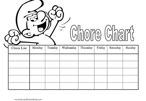 printable reward charts to colour in chore charts for kids