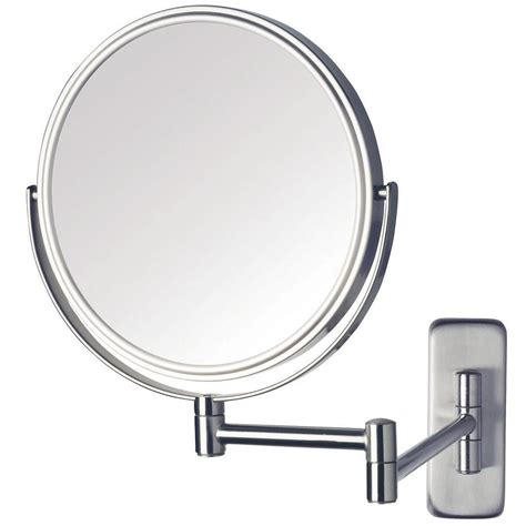 wall mounted lighted magnifying bathroom mirror pkgny com jerdon 8 in dia wall mounted mirror in nickel jp7506n